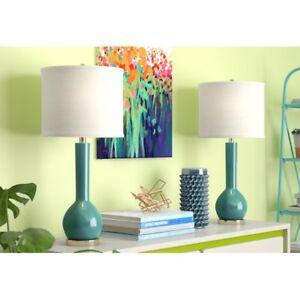 "Safavieh Long Neck Ceramic Table Lamp 30.5"" in Marine Blue (Set of 2)"