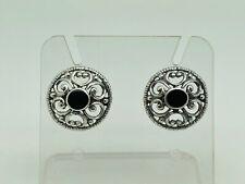 Gorgeous Modern Sterling Silver Ornate Celtic Design Black Onyx Studs Earrings