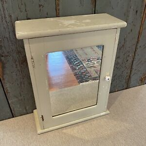 Vintage Wood Medicine Cabinet Cupboard Mirror Painted Green Surface Mount Old