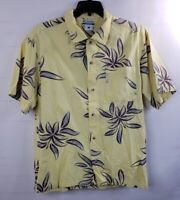 Columbia Men's SS Button Down Hawaiian Yellow Camp Shirt Large Cotton Floral