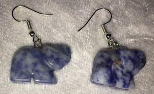 Hand Carved Blue White Agate Elephant Silver Plated Hook Dangle Drop Earrings