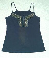 Dark blue NEXT vest top - intricate decorative beaded buttoned front neckline, 8