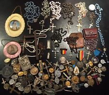 Lot Medailles Religieuses Medals French Antique Rosary Chapelets