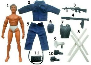 """1975 EMERGENCY ROOKIES SWAT ljn fits 8"""" mego POLICE figure HAT BOOTS SHOES RIFLE"""
