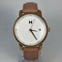 MVMT Womens Avenue Lexington Rose Gold Leather Band Date Indicator Quartz Watch