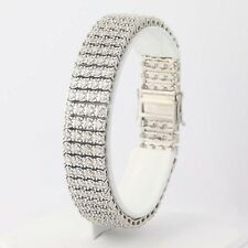 "Diamond Bracelet 7 1/2"" - 14k White Gold Wide Tennis Style Round Cut 5.00ctw"