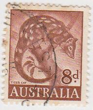 (W1375) 1959 AU 8d brown tiger cat (D)