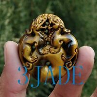 Natural Tiger's Eye Lions / Foo Dogs Amulet Pendant / Chinese Talisman Fengshui