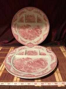 """2 Vintage Porcelain Pink Victorian Scene & Floral Divided Dish Plates 10 1/8"""""""