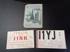 Vintage Lot of 3 1948 Post WWII Italy Ham Radio Cards - Nice Graphics!