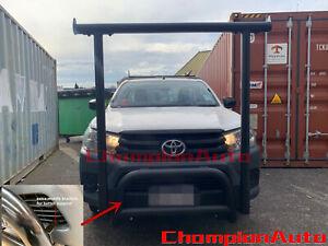 BLACK Nudge Bar + Front Ladder Rack H Rack H-Frame for Toyota Hilux 2015-2021