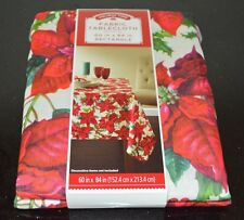 "Christmas Tablecloth Poinsettia Fabric NWT 60"" x 84"" rectangle"