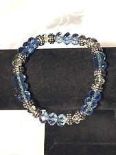 "Spring Blue & Crystal Swarovski Elements wTibet Silver Bead 8"" Stretch Bracelet"