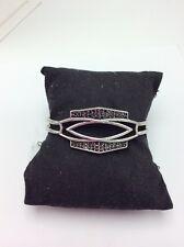 LUCKY BRAND Pave Hematite Silver-Tone Openwork Cuff Bracelet $49 #148a