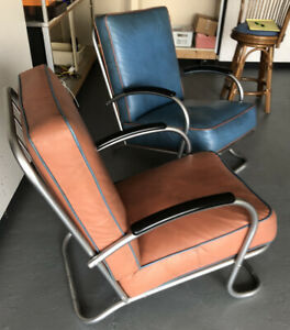 Pair Of Vintage Vinyl Chrome Tubular Lounge Chairs Mid Century Art Deco