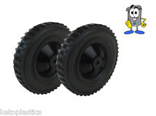 PAIR OF BLACK FISHING TROLLY / SACK TRUCK WHEELS 146MM WIDE - 12MM BORE HOLE