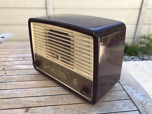 Poste Radio Radiola A Lampe Ancien Vintage Philips Tsf