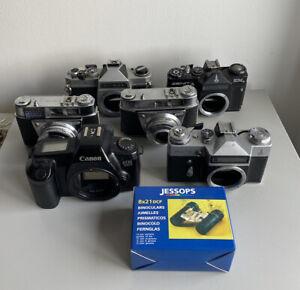 Joblot Collection Of Vintage Film Cameras Canon, Zenit, Kodak, Chinon