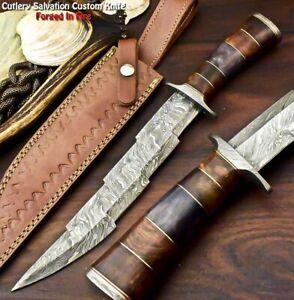 Cutlery Salvation Custom Handmade Damascus Kris Hunting Bowie Knife   CAMEL BONE