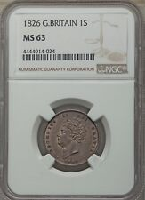 ENGLAND GEORGE IV 1826  1 SHILLING SILVER COIN UNCIRCULATED, NGC CERTIFIED MS-63