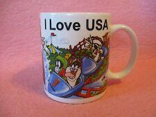 I Love USA Six Flags Looney Tunes Ceramic Coffee Mug Cup Linyi