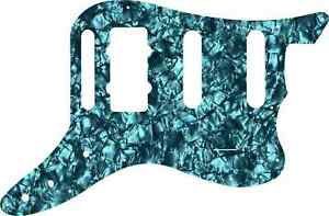 WD Custom Pickguard For Fender Pawn Shop Bass VI #28AQ Aqua Pearl/Black/White...