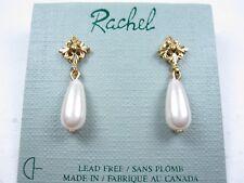 with Teardrop Pearls 1484 Rachel Gold Plated Pierced Earrings