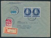 Berlin 1951, Mi. 78 portorichtige MiF auf R-Brief, Mi. 210,-€ in guter Erhaltung