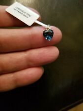 PRETTY 2.08 CT LONDON BLUE TOPAZ 14KT SOLID YELLOW GOLD TINY HEART PENDANT