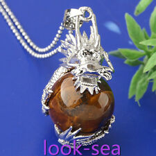 Tiger's Eye Dragon Gemstone Round Ball Bead Wrap Fashion Pendant For Necklace