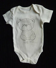 Baby clothes UNISEX BOY GIRL 0-3m bear white/grey George bodysuit/top NEW!
