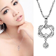Lady Clavicle Chain Silver Double Heart Crystal Topaz Pendant Necklace Jewelry