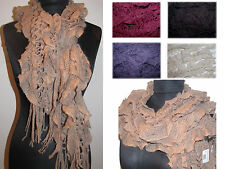 new Winter Warm Cable Knit Womens Knit Ruffle Scarf with Fringe many  COLORS