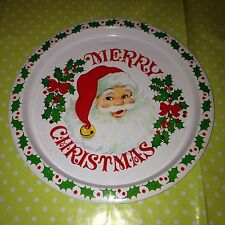 Vintage Retro Santa Clause Serving Tray Father Christmas XMas Nibbles Snack Tray