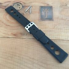 18mm 1960s-1970s Leather Rally Watch Strap & Deluxe Buckle Vintage Watch Band