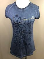 Sun Valley Idaho Blue Metallic Gold Floral Souvenir Shirt Medium Camp David NWT