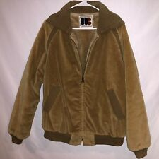 VTG WILLIAM BARRY CORDUROY SHERPA LINING FULL ZIP BOMBER FLIGHT JACKET COAT 42L