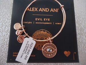 Alex and Ani EVIL EYE Rose Gold Charm Bangle New W/ Tag Card & Box