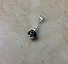 Sterling Silver 925 Black Evil Eye Pendant Charm Necklace Glass Bead Silver Bar