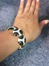 Beautiful vintage Nina Ricci Black Enamel Rhinestone Gold Tone  Links bracelet