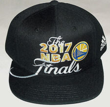 NWT 2017 NBA FINALS GOLDEN STATE WARRIORS DUBS ADULT OSFA BLK FLAT BRIM HAT  CAP 2dd2c38ce166