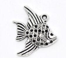 6Pcs Antique Silver Fish Charm Pendants 21x19mm Tone LC0619