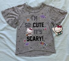 """New Sanrio Hello Kitty Toddler Girl Shirt """"I'm So Cute, It's Scary"""" Halloween 5T"""