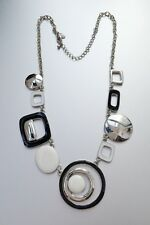 "LIA SOPHIA SILVER TONE WHITE/BLACK ENAMEL 18""-21"" NECKLACE"