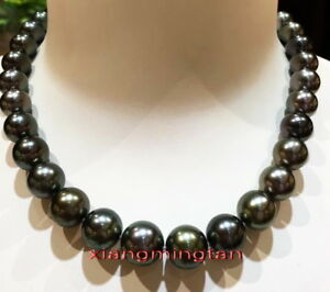 """AAAAA LONG 20""""11-12mm REAL natural round TAHITIAN black pearl necklace 14k GOLD"""