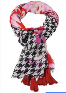 Marc Aurel Large Red Black White Dogtooth Pattern Shawl Scarf New