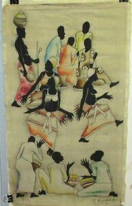 A. MUSAAZI AFRICAN PEOPLE ORIGINAL BATIK PAINTING
