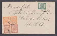 Netherland Antilles Sc 31-33 on 1908 cover to Toledo, Ohio