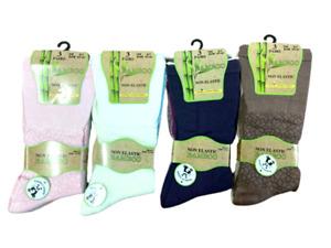 New Women's 3 Pairs Bamboo Non Elastic Loose Top Daisy Soft Anti Bacterial Socks