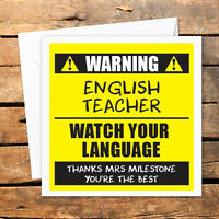 Personalised Thank You Teacher Card Nursery Nurse Male Female Funny Warning Best